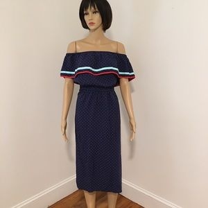 Maison Jules Red White & Blue Off/Shoulder Dress